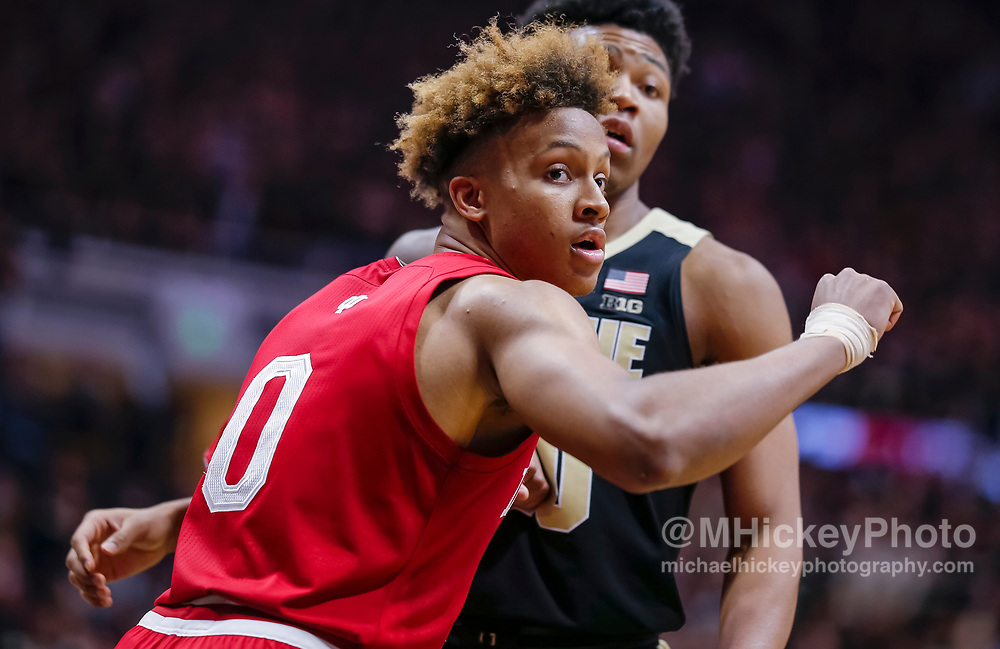 WEST LAFAYETTE, IN - JANUARY 19: Romeo Langford #0 of the Indiana Hoosiers is seen during the game against the Purdue Boilermakers at Mackey Arena on January 19, 2019 in West Lafayette, Indiana. (Photo by Michael Hickey/Getty Images) *** Local Caption *** Romeo Langford