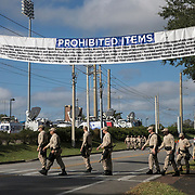 A list of prohibited items are seen in preparation for the Richard Spencer speech at the Phillips Center for the Performing Arts on the University of Florida campus in Gainesville, Florida on Thursday, October 18, 2017. (Alex Menendez)