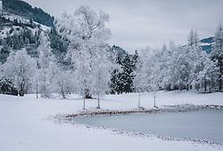 THEMENBILD - verschneite Bäume an einem zugefrorenen Teich, aufgenommen am 30. Dezember 2020 in Zell am See, Oesterreich // snow-covered trees on a frozen pond, in Zell am See, Austria on 2020/12/30. EXPA Pictures © 2020, PhotoCredit: EXPA/Stefanie Oberhause