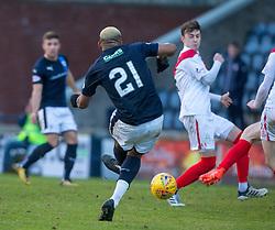 Raith Rovers Willis Furtado scoring their first goal. Raith Rovers 2 v 1 Airdrie, Scottish Football League Division One game played 10/2/2018 at Stark's Park, Kirkcaldy.