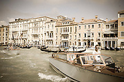 Palaces and boats on the Grand Canal, Venice, Veneto, Italy