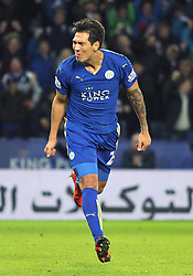 Leonardo Ulloa of Leicester City celebrates scoring his sides third goal - Mandatory byline: Jack Phillips/JMP - 23/01/2016 - FOOTBALL - King Power Stadium - Leicester, England - Leicester City v Stoke City - Barclays Premier League