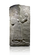Hittite relief sculpted orthostat stone panel of Long Wall Basalt, Karkamıs, (Kargamıs), Carchemish (Karkemish), 900-700 B.C. Anatolian Civilizations Museum, Ankara, Turkey.<br /> <br /> Goddess Kubaba. Goddess is depicted from the profile. The part below the chest of the relief is broken. She holds a pomegranate in her hands on her chest. She carries a one-horned headdress on her head. Her braided hair hangs down to her shoulder. The text in the hieroglyphics is not understood. The lower part of the relief has been restored. <br /> <br /> On a White Background. .<br />  <br /> If you prefer to buy from our ALAMY STOCK LIBRARY page at https://www.alamy.com/portfolio/paul-williams-funkystock/hittite-art-antiquities.html  - Type  Karkamıs in LOWER SEARCH WITHIN GALLERY box. Refine search by adding background colour, place, museum etc.<br /> <br /> Visit our HITTITE PHOTO COLLECTIONS for more photos to download or buy as wall art prints https://funkystock.photoshelter.com/gallery-collection/The-Hittites-Art-Artefacts-Antiquities-Historic-Sites-Pictures-Images-of/C0000NUBSMhSc3Oo