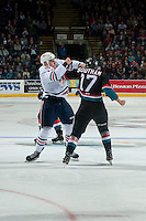 KELOWNA, CANADA - SEPTEMBER 24: Scott Mahovlich #12 of the Kamloops Blazers drops the gloves with Rodney Southam #17 of the Kelowna Rockets on September 24, 2016 at Prospera Place in Kelowna, British Columbia, Canada.  (Photo by Marissa Baecker/Shoot the Breeze)  *** Local Caption *** Scott Mahovlich; Rodney Southam;