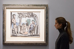 "© Licensed to London News Pictures. 20/02/2019. LONDON, UK. A staff member views ""Le repose du faune"", 1956, by Pablo Picasso (Est. £1.6-2.5m). Preview of Sotheby's Impressionist & Modern and Surrealist Art sales.  The auction will take place at Sotheby's New Bond Street on 26 February 2019.  Photo credit: Stephen Chung/LNP"