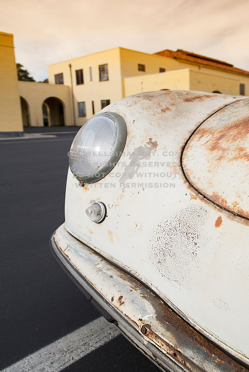Everybody turns to look when she drives down the street, Image of a rusty old 1952 pre-A 356 Porsche in southern California, America west coast