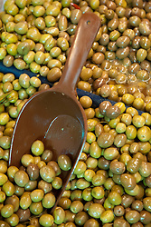 Middle East, Israel, Akko, green olives in market