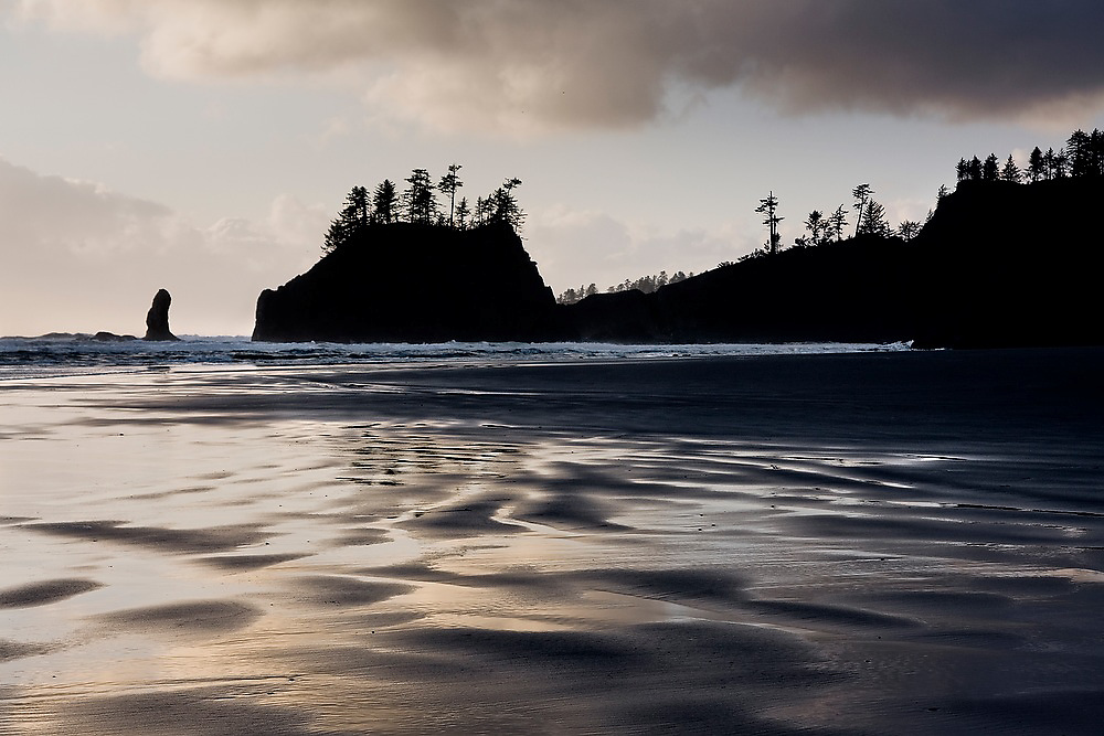 Second Beach at sunset, with wavy patterns of wet sand in the foreground, Olympic National Park, Washington.