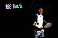VALENCIA, SPAIN - NOVEMBER 05: Nikolay Davydenko of Russia during his second round match against Juan Monaco of Argentina during the ATP 500 World Tour Valencia Open tennis tournament at the Ciudad de las Artes y las Ciencias on November 5, 2009 in Valencia, Spain. Davydenko won the match in two sets, 6-3 and 7-5. (Photo by Manuel Queimadelos)