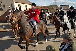 © Licensed to London News Pictures. 10/03/2012..Cleveland, England..The Cleveland Hunt sets out from Thrushwood Farm on Teesside at the start of the hunt...Photo credit : Ian Forsyth/LNP