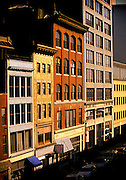 Lincoln Street buildings in the Leather District, have been converted from leather factories to living quarters for condominium dwellers.