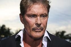 """David Hasselhoff talks to the press during the """"Baywatch"""" movie world premiere's beach party and red carpet event on Saturday, May 13, 2017 in Miami Beach, FL, USA. Photo by Matias J. Ocner/Miami Herald/TNS/ABACAPRESS.COM"""