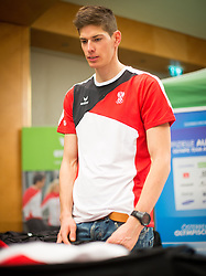 28.01.2014,  Marriott, Wien, AUT, Sochi 2014, Einkleidung OeOC, im Bild Julian Eberhard (Biathlon, AUT) // Julian Eberhard (Biathlon, AUT) during the outfitting of the Austrian National Olympic Committee for Sochi 2014 at the  Marriott in Vienna, Austria on 2014/01/28. EXPA Pictures © 2014, PhotoCredit: EXPA/ JFK