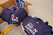 23 OCTOBER 2020 - DES MOINES, IOWA: Biden/Harris campaign materials at the Ezan Mosque in Des Moines. Although Donald Trump carried Iowa in 2016, Hillary Clinton won Des Moines and Polk County. Trump and Democratic challenger Joe Biden are statistically tied in Iowa, but Biden is expected to carry Polk County this year. There about 10,000 people of Bosnian ancestry in the Des Moines area.       PHOTO BY JACK KURTZ