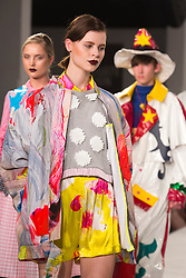 © Licensed to London News Pictures. 01/06/2014. London, England. Finale, Manchester School of Art. Graduate Fashion Week 2014, Runway Show at the Old Truman Brewery in London, United Kingdom. Photo credit: Bettina Strenske/LNP