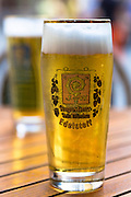 Glass of Augustiner Brau Munchen Edelstoff in Munich, Bavaria, Germany