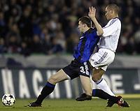 Fotball<br /> UEFA-cup<br /> Club Brugge v Bordeaux<br /> 25. mars 2004<br /> Foto: Digitalsport<br /> Norway Only<br /> <br /> TIMMY SIMONS - EDUARDO COSTA /
