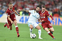 KIEV, UKRAINE - MAY 26: Andy Robertson of Liverpool tackles Isco of Real Madrid during the UEFA Champions League final between Real Madrid and Liverpool at NSC Olimpiyskiy Stadium on May 26, 2018 in Kiev, Ukraine. (MB Media)