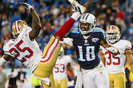 NASHVILLE, TN - OCTOBER 20:  Kenny Britt #18 of the Tennessee Titans pushes over Tarell Brown #25 of the San Francisco 49ers at LP Field on October 20, 2013 in Nashville, Tennessee.  The 49ers defeated the Titans 31-17.  (Photo by Wesley Hitt/Getty Images) *** Local Caption *** Kenny Britt; Tarell Brown Sports photography by Wesley Hitt photography with images from the NFL, NCAA and Arkansas Razorbacks.  Hitt photography in based in Fayetteville, Arkansas where he shoots Commercial Photography, Editorial Photography, Advertising Photography, Stock Photography and People Photography