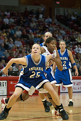 04 February 2006: Rachael Maepaa gets position on Brea Banks during a free throw. The Indiana State Sycamores shook the Illinois State Redbirds from the nest with a 75-71 Victory.  There were 3,581 fans on hand, making the audience the  2nd largest women's basketball crowd ever in Redbird Arena on Illinois State University campus in Normal Illinois.