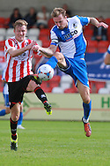 Kyle Storer and Chris Lines during the Pre-Season Friendly match between Cheltenham Town and Bristol Rovers at Whaddon Road, Cheltenham, England on 25 July 2015. Photo by Antony Thompson.