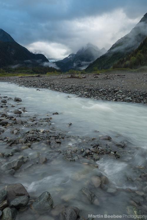 Misty mountains above Fourth of July Creek, Seward, Alaska