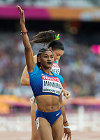 Athletics - 2017 IAAF London World Athletics Championships - Day Eight, Evening Session<br /> <br /> Womens 100m Hurdles Semi final<br /> <br /> Christina Manning (United States) acknowledges her first place qualifiying for the final at the London Stadium<br /> <br /> COLORSPORT/DANIEL BEARHAM