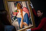 John Duncan Fergusson's Poise, found in an attic in France - Christie's Modern British and Irish Art Sale which will take place on 19 November 2014. Featuring 35 lots, the auction includes  examples of 20th century British sculpture and painting, such as: John Duncan Fergusson's Poise (estimate: £80,000-120,000); six paintings by L.S. Lowry, led by Coal Barge (estimate: £700,000-1,000,000);  Euan Uglow's masterpiece entitled Three In One (estimate: £500,000-800,000; Figure (Sunion) by Dame Barbara Hepworth (estimate: £600,000-800,000); and sculpture by leading artists of the genre including Henry Moore, Lynn Chadwick, Dame Elisabeth Frink, and Naum Gabo.