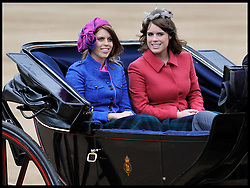 Princess Beatrice and Princess Eugenie arrive at Horse Guards Parade for the Queen's Trooping of the Colour, The Queen's Birthday Parade, Saturday June 16, 2012. Photo by Andrew Parsons/i-Images..All Rights Reserved ©Andrew Parsons/i-Images .See Special Instructions