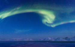 Aurora borealis in March in Hornsund, Spitsbergen, Svalbard, Norway