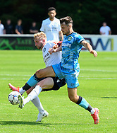 Josh March (28) of Forest Green Rovers battles for possession during the Pre-Season Friendly match between Yate Town and Forest Green Rovers at the Jelf Stadium, Yate, United Kingdom on 17 July 2021.