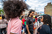British rapper, journalist, author, activist and poet from Kentish Town of London Akala, is seen participating in Brixton Gatherings of Windrush Square in South London on Saturday, Aug 1, 2020.<br /> British Africans gathered in East London to celebrate their culture, history and bright minds of African descent in Britain. Throughout their speeches, they reminded their youth the importance of pursuing education and demanded reparations to be paid. (VXP Photo/ Vudi Xhymshiti)