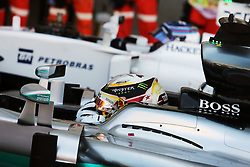 Pole sitter Lewis Hamilton (GBR) Mercedes AMG F1 W07 Hybrid in qualifying parc ferme.<br /> 29.10.2016. Formula 1 World Championship, Rd 19, Mexican Grand Prix, Mexico City, Mexico, Qualifying Day.<br /> Copyright: Moy / XPB Images / action press