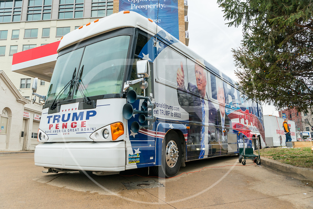 Washington DC, United States - A Trump/Pence Make America Great Again bus parks outside an EXXON gas station on Inauguration Day, 2017.