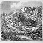 The Source of the Jordan at Banias From the book 'Those holy fields : Palestine, illustrated by pen and pencil' by Manning, Samuel, 1822-1881; Religious Tract Society (Great Britain) Published in 1874