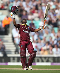West IndiesÕ Evin Lewis celebrates his century during the Fourth Royal London One Day International at the Kia Oval, London.
