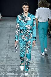 Milan Fashion Week Men's Fashion spring summer 2020. Miguel Vieira fashion show In the Photo: model
