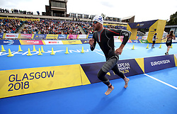Great Britain's Gordon Benson in action in the Triathlon Mixed team relay during day ten of the 2018 European Championships at Strathclyde Country Park, Lanarkshire.