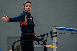 Referee Helene Geldof in action during the second final league match between Amysoft Lycurgus vs. Draisma Dynamo on April 24, 2021 in Groningen.