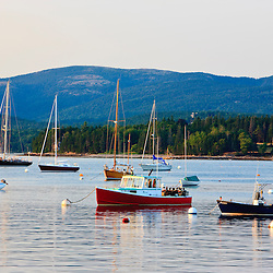 The mountains of Acadia National Park as seen from Mansett Harbor on Maine's Mount Desert Island.
