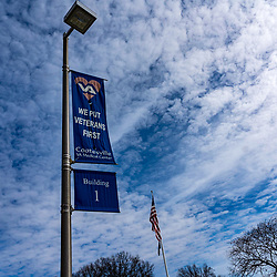 Coatesville, PA / USA - February 24, 2020: A banner on a street light pole at the US Department of Veterans Affairs Medical Center in Coatesville PA.