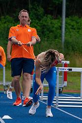 Coach Bart Bennema, Nadine Visser in action during the Press presentation of the olympic team Athletics on July 8, 2021 in Papendal Arnhem