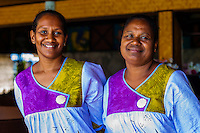 Kanak (Melanesian) women, Hotel Nengone Village, island of Mare, Loyalty Islands, New Caledonia