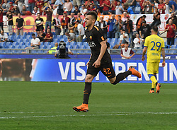 April 28, 2018 - Rome, Italy - Stephan El Shaarawy celebrates after score goal 3-0 during the Italian Serie A football match between A.S. Roma and Chievo at the Olympic Stadium in Rome, on april 28, 2018. (Credit Image: © Silvia Lore/NurPhoto via ZUMA Press)