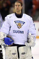 Goalkeeper Petri Vehanen at ice-hockey match Finland vs USA at Qualifying round Group F of IIHF WC 2008 in Halifax, on May 11, 2008 in Metro Center, Halifax, Nova Scotia, Canada. (Photo by Vid Ponikvar / Sportal Images)