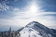 Summit on Gothics Mountain on a bluebird winter day