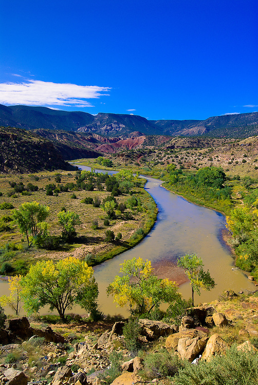 View of a bend in the Chama River, near Abiquiu, New Mexico
