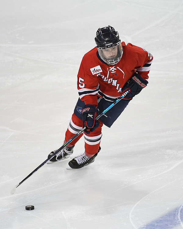 ERIE, PA - MARCH 05: Joelle Fiala #25 of the Robert Morris Colonials skates with the puck in overtime during the game against the Mercyhurst Lakers at the Erie Insurance Arena on March 5, 2021 in Erie, Pennsylvania. (Photo by Justin Berl/Robert Morris Athletics)