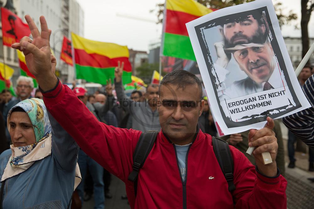 """Berlin, Germany - 22.09.2018<br /> <br /> """"Erdogan not Welcome""""-protest in Berlin in the run-up to the upcoming Turkish state visit. <br /> <br /> """"Erdogan not Welcome"""" Protestdemonstration im Vorfeld des anstehenden tuerkischen Staatsbesuchs. <br /> <br /> Photo: Bjoern Kietzmann"""