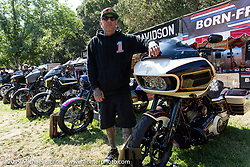 San Diego Customs' Chip Kastelnik with his Harley-Davidson BF11 Softail project bike at the San Diego Customs' Chip Kastelnik at the Born-Free Vintage Motorcycle show at Oak Canyon Ranch, Silverado, CA, USA. Sunday, June 23, 2019. Photography ©2019 Michael Lichter.